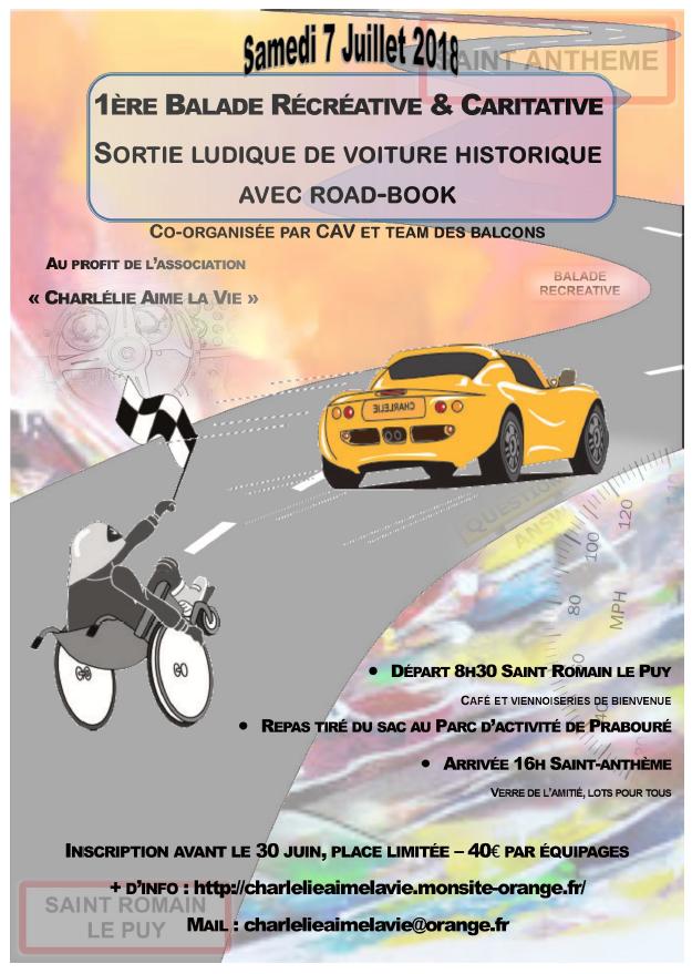 1ère Balade Récréative & Caritative – Samedi 7 juillet 2018 – Saint Romain Le Puy